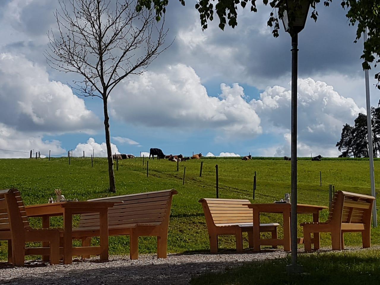 Gastgarten mit idyllischem Blick auf die Weiden